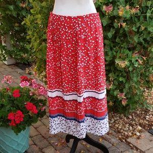 Vtg Worthington polka dot Americana maxi skirt 12P